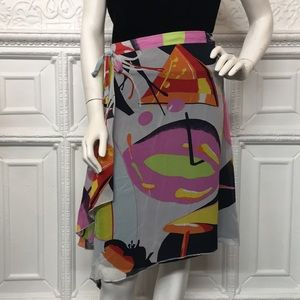 Dresses & Skirts - France 1 Multi Print Art Deco Silk Wrap Skirt